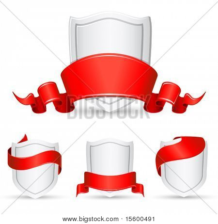 vector red banners and shield