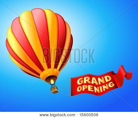 """Vector ilustración de globo de aire caliente con el rojo de la muestra """"gran apertura"""""""