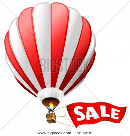 "vector illustration of hot air balloon with red sign ""sale"""
