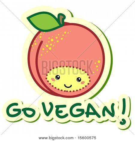 "vector sticker peach ""go vegan"""