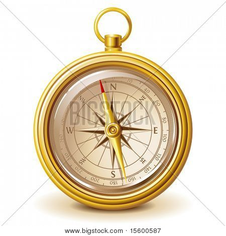 gold compass (only gradients, no meshes or transparency)