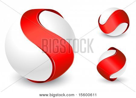 vector templates of ribbons on the balls