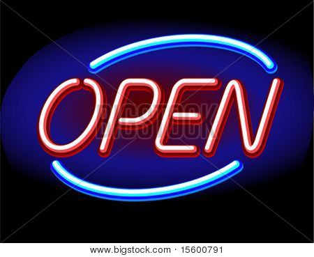 neon vector open sign