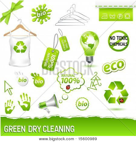 vector green dry cleaning laundry set