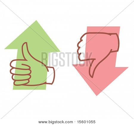 approval or disapproval arrow icons vector