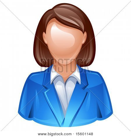 vector illustration of woman in business suit as user icon