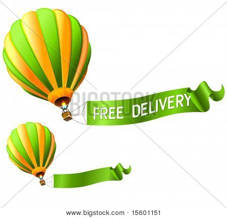 hot air balloon FREE DELIVERY sign