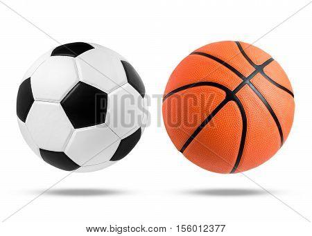 Soccer ball and Basketball ball closeup image.
