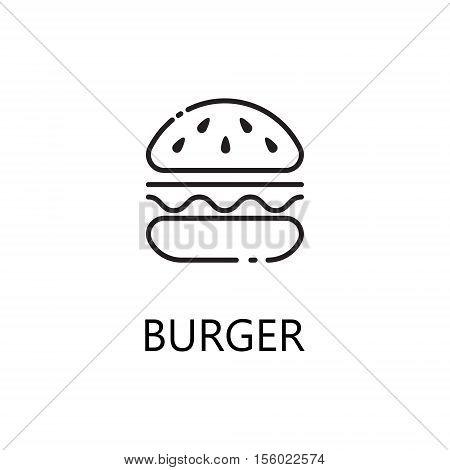Burger line icon. Single high quality symbol of fast food for web design or mobile app. Thin line signs of burger for design logo, visit card, etc. Outline pictogram of burger.