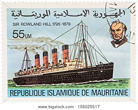 MOSCOW RUSSIA - NOVEMBER 08 2016: A stamp printed in Mauritania shows old steamship series