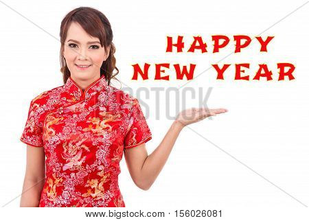Asian beauty women wear red dress cheongsam or qipao is chinese traditional celebrate