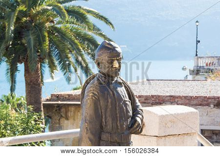 HERCEG NOVI, MONTENEGRO - 4 AUGUST 2016: monument to the chimney sweep on the street Njegoseva.