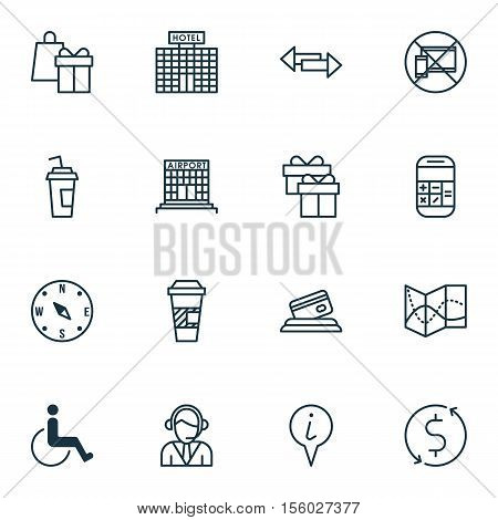 Set Of Transportation Icons On Shopping, Hotel Construction And Info Pointer Topics. Editable Vector