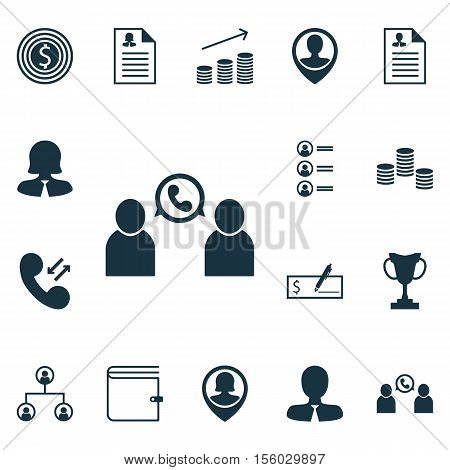 Set Of Management Icons On Business Woman, Money And Pin Employee Topics. Editable Vector Illustrati