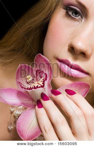 beleza com orquídea rosa