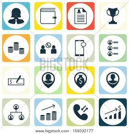 Set Of Management Icons On Money Navigation, Cellular Data And Pin Employee Topics. Editable Vector