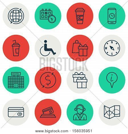 Set Of Traveling Icons On Call Duration, Hotel Construction And Shopping Topics. Editable Vector Ill