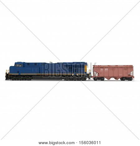 Locomotive and freight wagon on white background. 3D illustration
