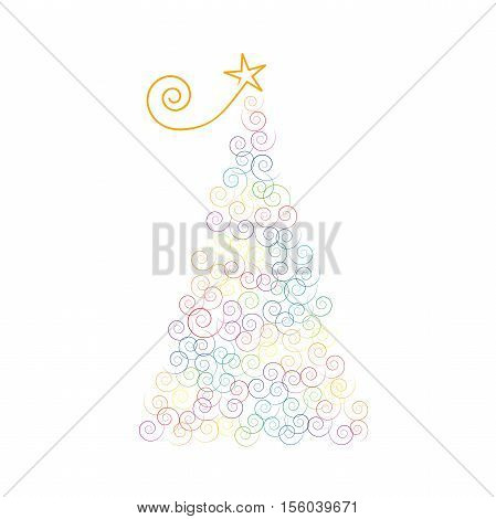 Vector Christmas tree with curls isoated on white