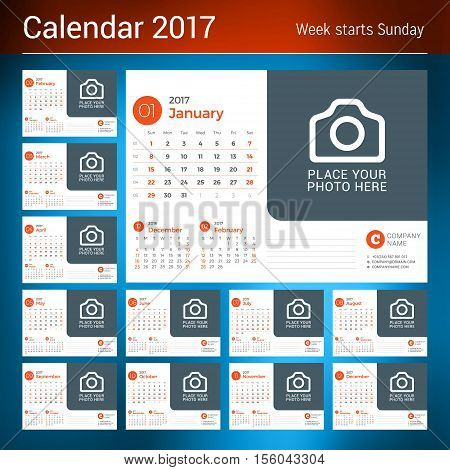 Calendar for 2017 Year. Vector Design Print Template with Place for Photo and Company Logo. Set of 12 Months. Week Starts Sunday. 3 Months on Page
