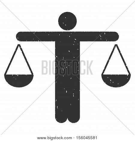 Judge Person rubber seal stamp watermark. Icon vector symbol with grunge design and corrosion texture. Scratched gray ink sign on a white background.