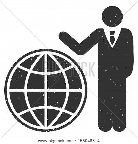 Planetary Manager rubber seal stamp watermark. Icon vector symbol with grunge design and corrosion texture. Scratched gray ink sign on a white background.