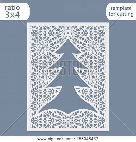 Laser cut christmas invitation card template. Cut out the paper card with lace pattern. Greeting card template for cutting plotter. Congratulation to Christmas or New Year. Metal plate cut by laser. Vector.