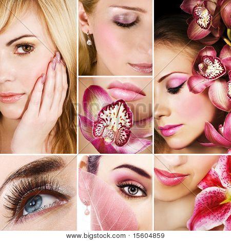 Collage aus mehreren Fotos für Mode und Schönheit
