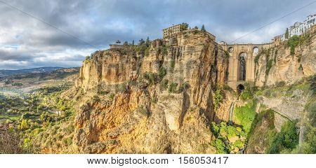 Panorama of Ronda with Puente Nuevo bridge Andalusia Spain