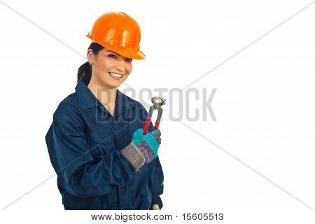 Happy Worker Woman Holding Pincers