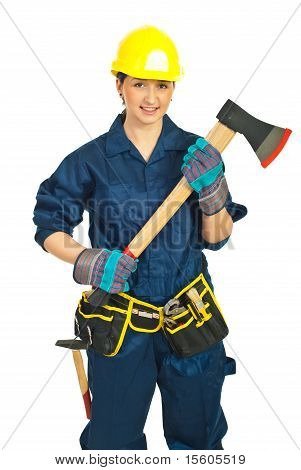 Constructor Worker Female With Hatchet
