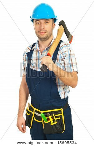 Mid Adult Worker Holding Hatchet