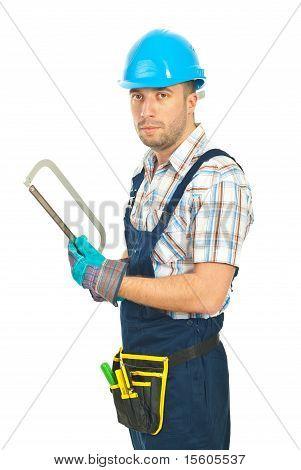 Repairman Holding Saw