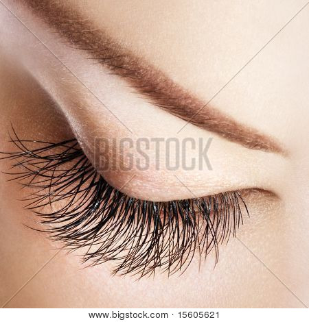 Woman eye with extremely long eyelashes without eyeshadow.