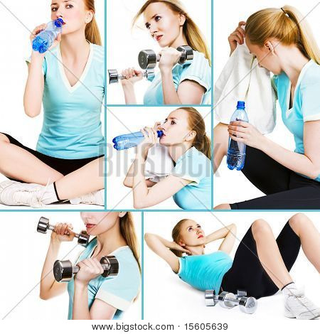 Collage of several pictures for sport and healthcare industry