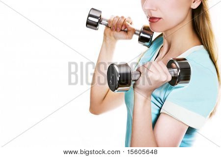 Young woman with dumbbells on white. Space for text.