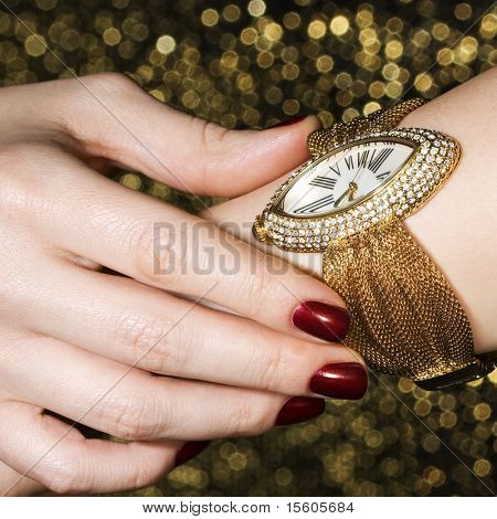 Golden female wristwatch