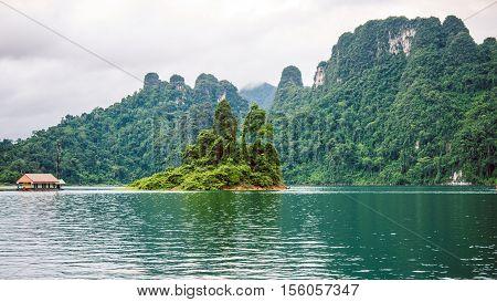 Cheo Lan Lake in Khao Sok, Suratani, Thailand. Rainy Clouds. Low Season