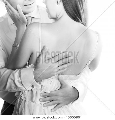 Young loving couple in black and white