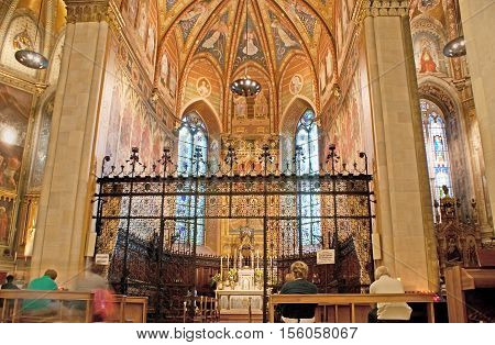 LORETO ITALY - OCTOBER 6 2012: The Basilica of Santa Casa is the place of pilgrimage for Christians all over the world on October 6 in Loreto.