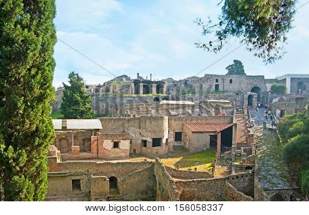 Pompeii is the most famous archaeological site of Campania with numerous preserved ancient landmarks and artifacts Italy.