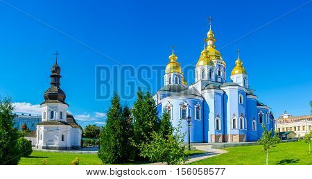 The medieval Refectory of St John the Divine and renovated Cathedral of St Michael's Golden-Domed Monastery located in Kiev city center Ukraine.