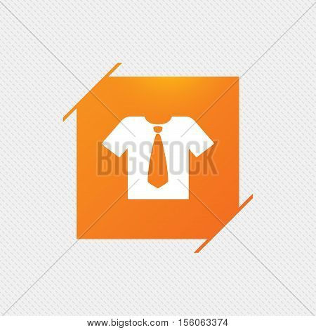 Shirt with tie sign icon. Clothes with short sleeves symbol. Orange square label on pattern. Vector