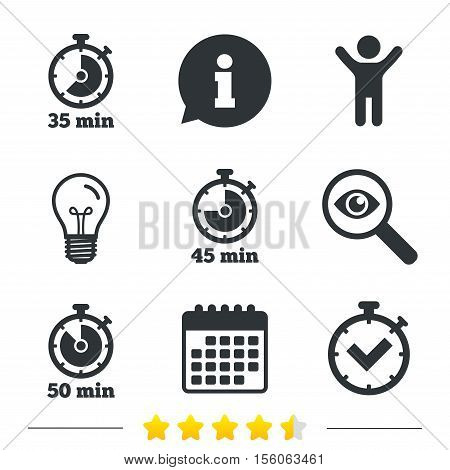 Timer icons. 35, 45 and 50 minutes stopwatch symbols. Check or Tick mark. Information, light bulb and calendar icons. Investigate magnifier. Vector