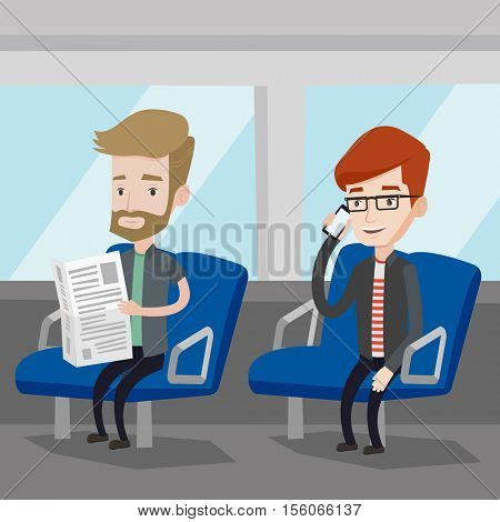 Man using mobile phone while traveling by public transport. Caucasian man reading newspaper in public transport. People traveling by public transport. Vector flat design illustration. Square layout.