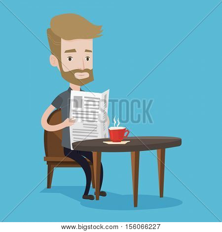 A hipster man with the beard reading newspaper. Young man reading news in newspaper. Caucasian man sitting with newspaper in hands and drinking coffee. Vector flat design illustration. Square layout.