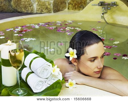 Woman getting spa treatment outdoor