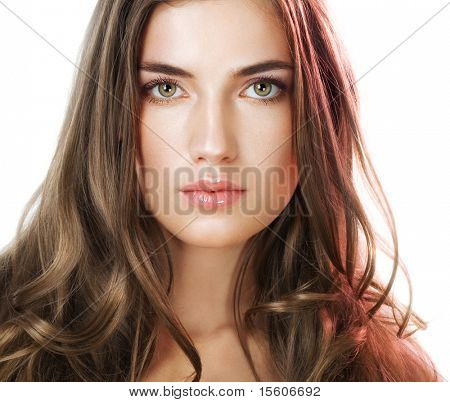 Beauty with perfect natural makeup look and long hair