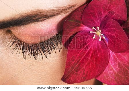 Closed woman eye with long eyelashes and pink flower