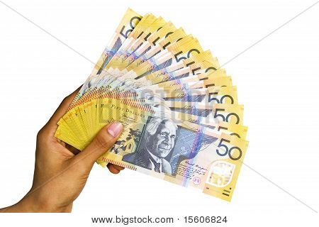 Australian Currency Isolated On White Background.